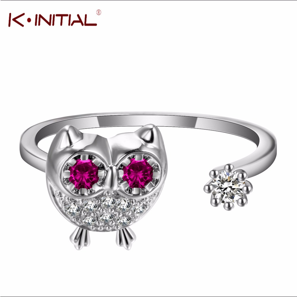 Kinitial 925 Sterling Silver Crystal Animal Owl Rings Adjustable Lovely Red  Eye Ring For Women Wedding