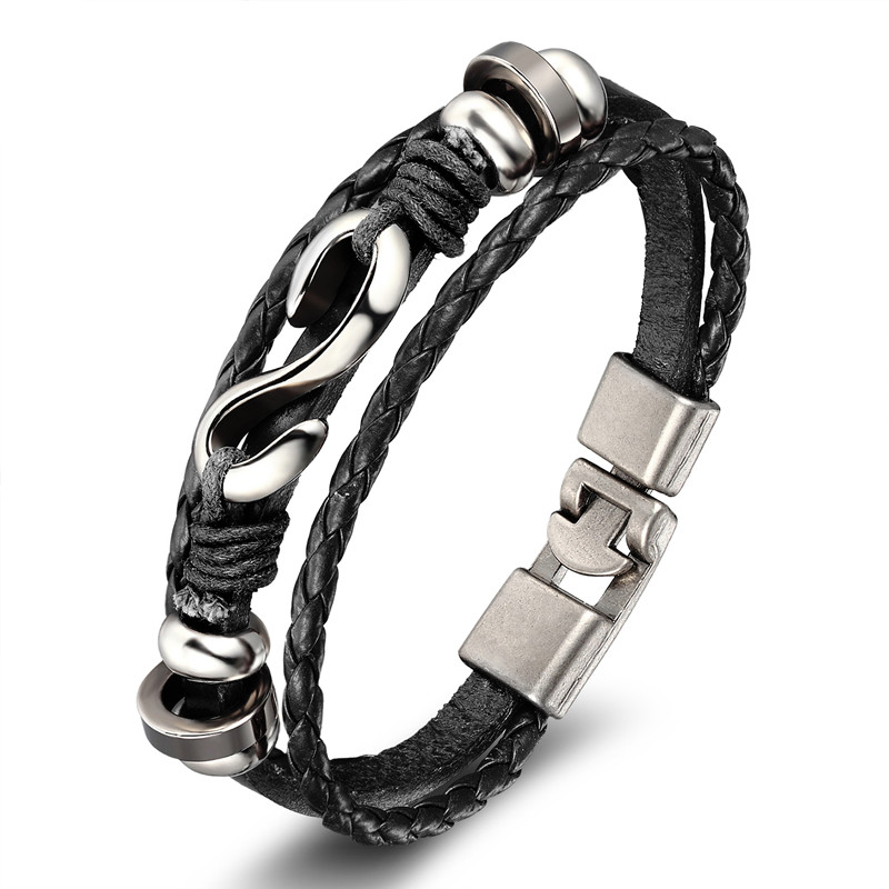 18 New Fashion 3 layer Leather Skull Bracelets&Bangles Handmade Round Rope Turn Buckle Bracelet For Women Men Charm bracelet 22