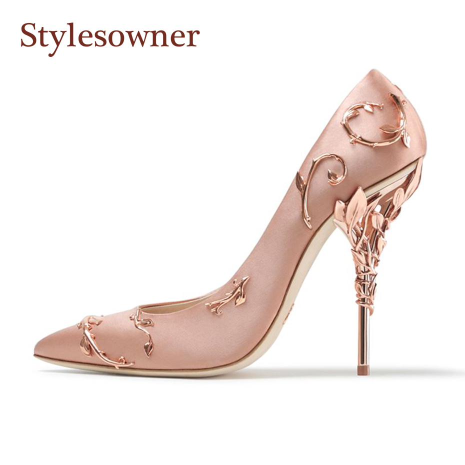 Stylesowner 2018 Designer Women Wedding Shoe Metal Covered Heel Stiletto  Pumps Sexy Flower Pointed Toe Satin Shoe 6 Colors 6782531e875e