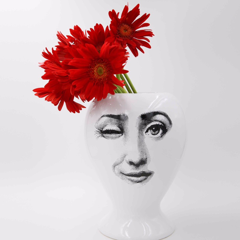 2018 New Creative Design Pattern Italy Milan Rosenthal Piero Fornasetti Vase Living Room Decorated Vase Porcelain Vase