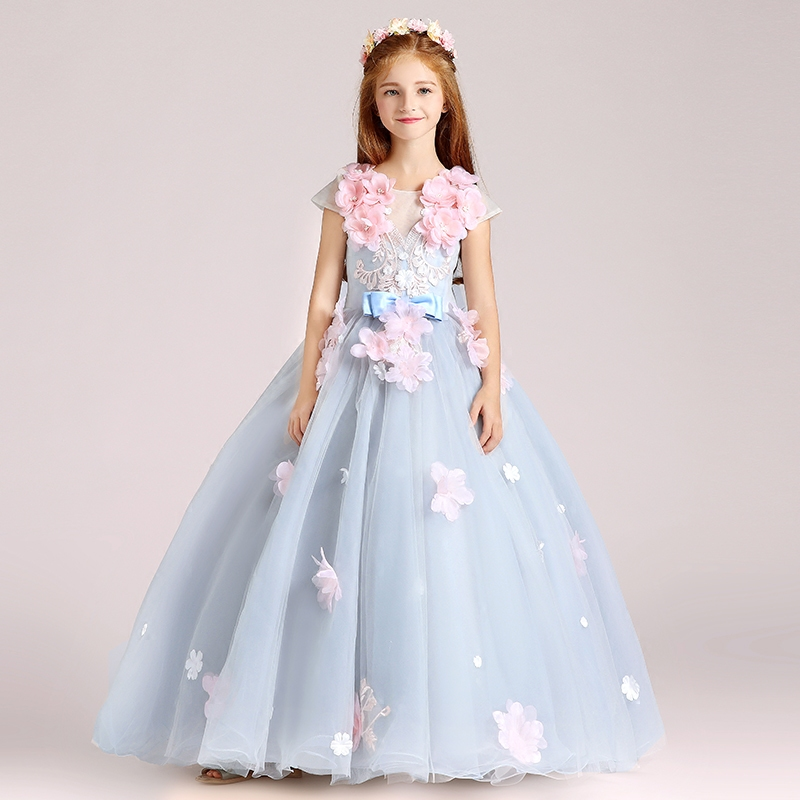 2018 Spring New Children Girls Birthday Wedding Evening Party Ball Gown Flowers Dress Kids Piano Performance Pageant Long Dress ball gown sky blue open back with long train ruffles tiered crystals flower girl dress party birthday evening party pageant gown