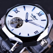 WINNER Automatic Mechanical Watch Men Fashion Multilateral Bezel Skeleton Dial Sport Clock Male Top Brand Luxury Mens Watches