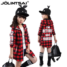 Autumn Jackets For Girls Outerwear 2016 New Fashion Hooded Infant Girl Coats Plaid Casual Children's Jacket Long Kids Coat Girl