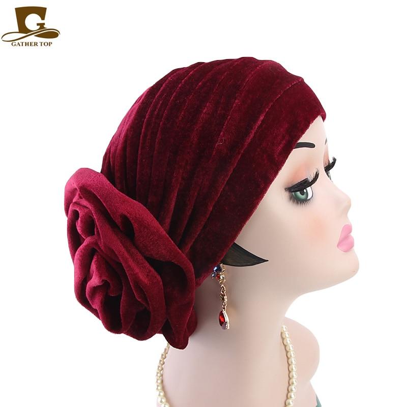 a5570edbd24 New fashion king flower velvet turban women headbands Bonnet Chemo Cap  Muslim Scarf Hijab Islamic Turbante hair accessories-in Women s Hair  Accessories from ...