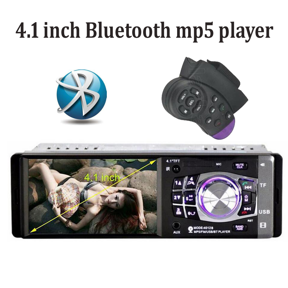 New 1 DIN 12V Support Rear Camera Car Radio bluetooth 4.1 inch MP5 player FM USB/SD AUX IN MMC In-Dash Audio Stereo 2015 new support rear camera car stereo mp3 mp4 player 12v car audio video mp5 bluetooth hands free usb tft mmc remote control