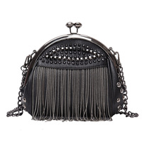 Fashion tassel rivet Ladies Crossbody Bags Sling chain shoulder handbag women's vintage punk style hand bags