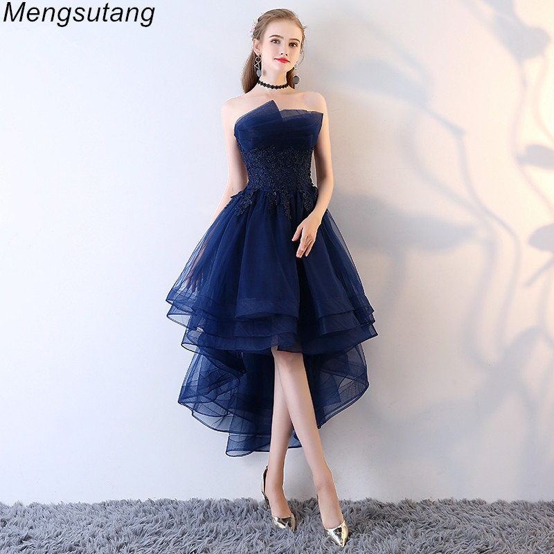 Robe De Soriee Navy Blue Lace up Strapless Short Front Long Back Elegant   Evening     Dress   with Appliques Formal Prom Party   Dress