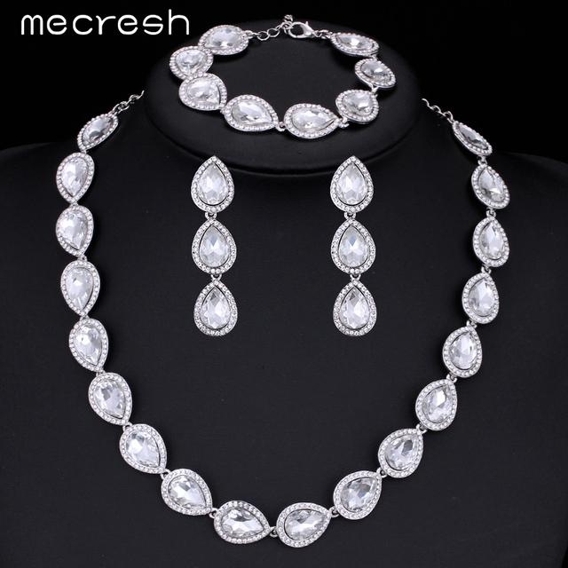 Mecresh 3 Pçs/set Cristal Nupcial Conjunto de Jóias de Prata Banhado A Gota de Água Colar Brincos Pulseira Conjuntos de Jóias MTL425 + SL051
