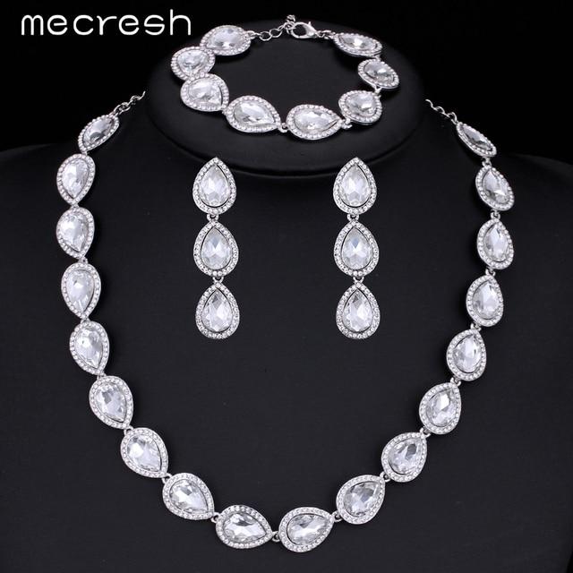 Mecresh 3Pcs/Set Crystal Bridal Jewelry Set Water Drop Silver Color Necklace Earrings Bracelet Jewelry Sets MTL425+SL051