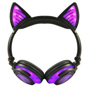 Image 2 - LIMSON 3.5 มม.ไร้สาย Bluetooth หูฟังน่ารักชุดหูฟังเรืองแสงพับแมวหู Headband ของขวัญเด็กหญิง