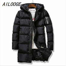 AILOOGE Clothing Jackets Business Long Thick Winter Coat Men Solid Parka Fashion Overcoat Outerwear Hooded Jacket Large Size