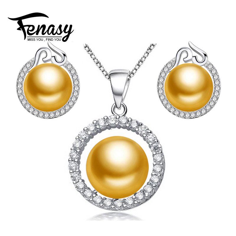 FENASY Heart jewelry,pearl jewelry sets natural pearl earrings for women/pendant necklace for wedding engagement alibaba express