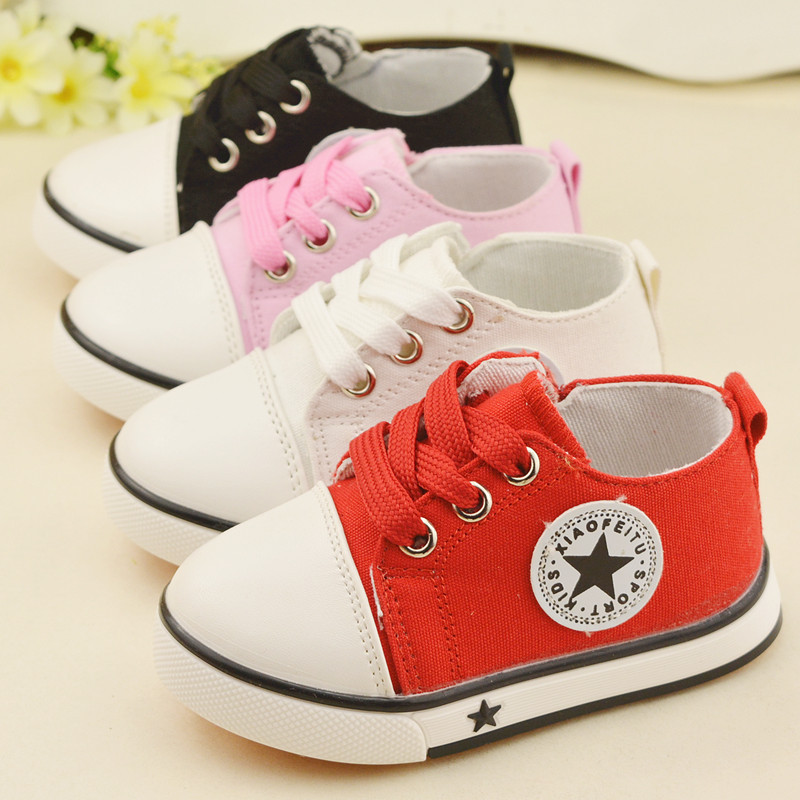 Canvas childrens shoes kids lace-up hook look casual shoes star fashion sneakers for boys girls summer spring todder shoes