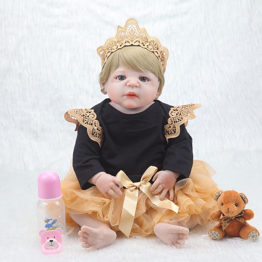 새로운 55 cm 연약한 몸 실리콘 reborn 아기 인형 소녀를위한 신생아 아기 생일 선물 아이 취침 시간 bebe 장난감 bonecas reborn-에서인형부터 완구 & 취미 의  그룹 1