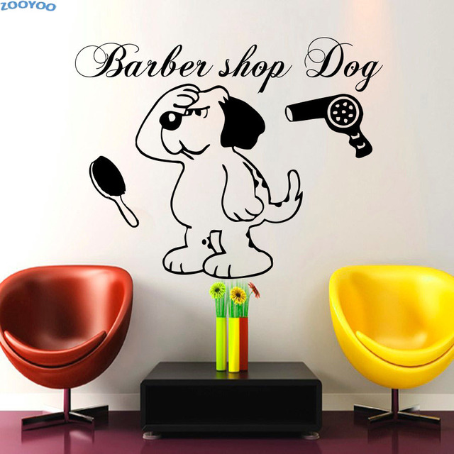 ZOOYOO Barber Shop Dog Wall Stickers Pet Salon Wall Decal Home ...