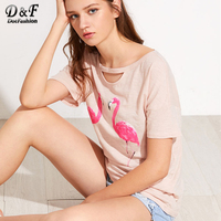 Dotfashion Pink Cutout Neck Slub Flamingo Tee 2017 Summer Cotton Cartoon Shirt Women S Round Neck