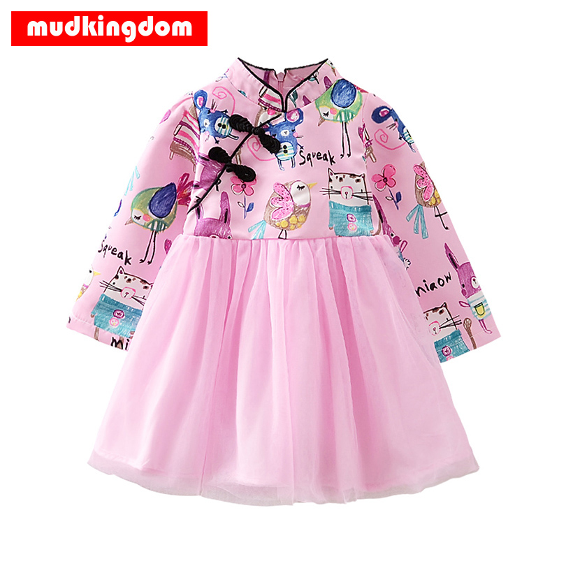 Mudkingdom Cartoon Baby Girls Princess Dresses Chiffon Summer Pattern Dress Long Sleeve Beach Sundress Kids Fashion Clothes 2017 toddler kids baby girls boho long foral princess party dress prom beach maxi sundress print lovely casual long sleeve dresses