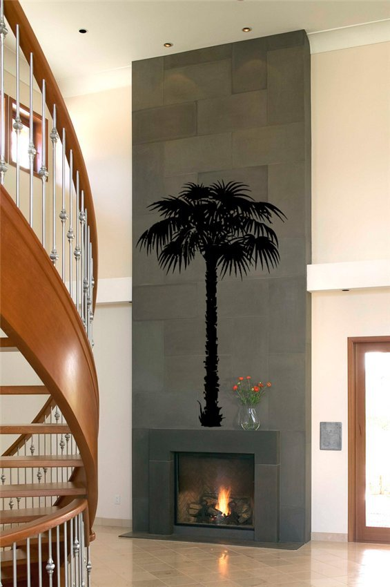 0327 Coconut Palm Tree Wall Art Bathroom Glass Modern Art Mural Home Decor Large 3d Vinyl Wall Decal Sticker Free Shipping