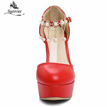 Sgesvier Fashion Round Toe Thick High Heels Women Pumps Sexy Platform Heeled Beading Pink White Red Dress Party Shoes Woman B571