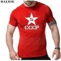 Unión Soviética URSS CCCP Rusia BAIJOE Verano Camisetas Hombre Hombre Moscú Rusia Mens Camisetas de Algodón O Cuello Camiseta de manga corta Tops Tee