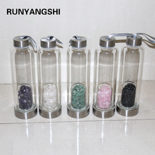 Creative Natural Quartz Crystal Glass Water Bottle Gravel Irregular Stone Cup Point Wand Healing Infused Elixir Cup for