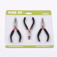 3PCS Set Black Jewelry Pliers Sets Side Cutter Round Nose And Chain Nose Pliers Ferronickel 11