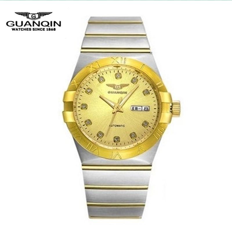 Золотые Роскошные мужские часы бренда GUANQIN Модные мужские механические часы повседневные водонепроницаемые мужские наручные часы из стали