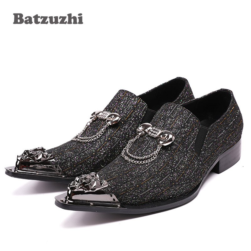 Batzuzhi мода Италия Стиль мужской обуви острым носом блестками кожаные туфли мужчина с цепочкой на низком каблуке свободного покроя обувь Оксфорд Хомбре