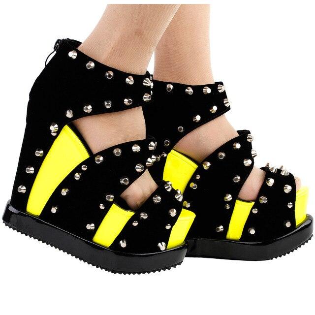 1b76b84fa LF38826 Punk Neon Yellow Stud Open Toe Strappy Wedge Platform High Heels  Sandals