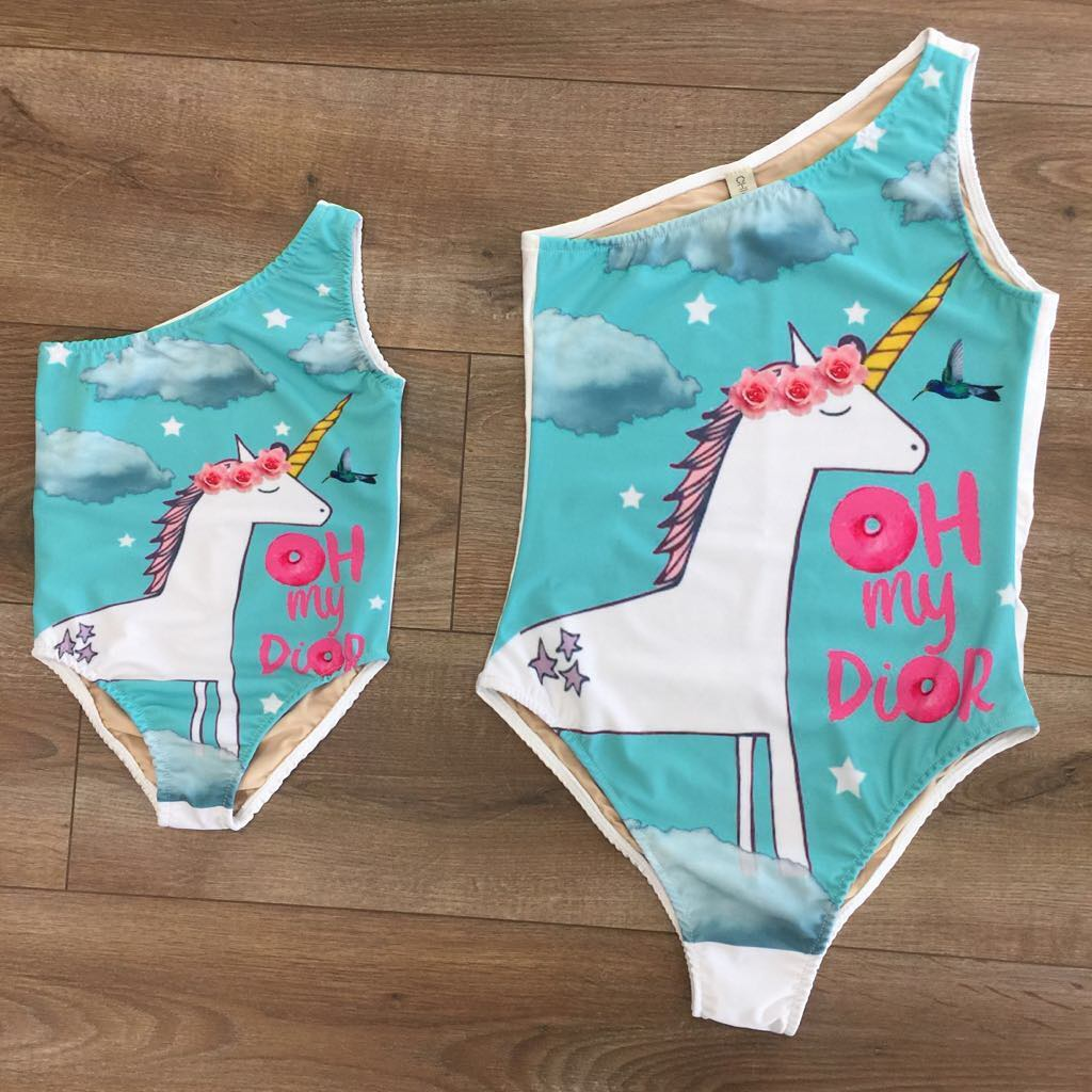 Cute Mother Baby Kids Girl Bikini Suit Halter Unicorn Swimsuit Swimwear Bathing Suit Baby Clothes Set 1-8t