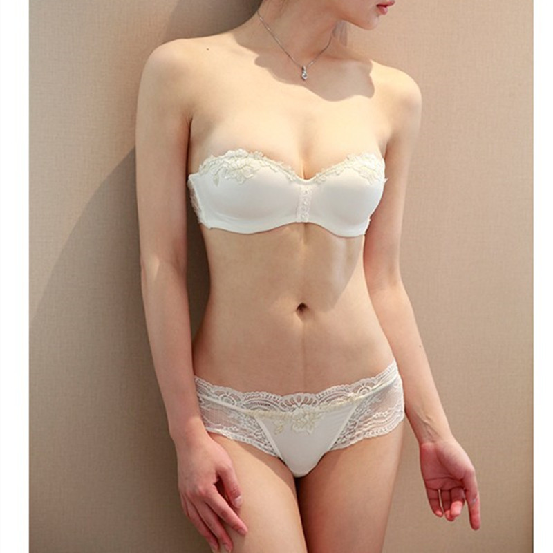 S Pure White Sweet Sexy Comfortable Push Up Lace Embroidery Bra And Panty Set Girls Lingeries Wedding Dress In Bra Brief Sets From Underwear