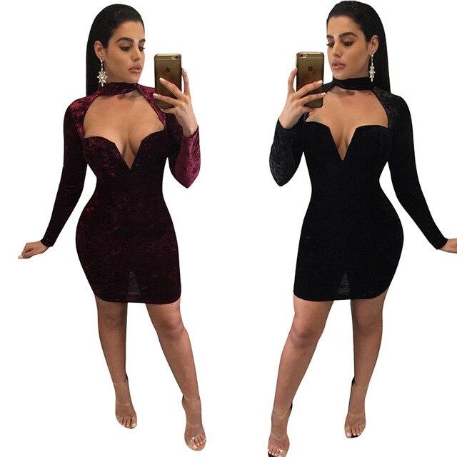 Bordeaux jurk lange mouw