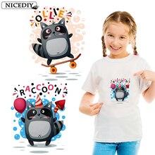 Nicediy Cute Small Animal Raccoon Cat Iron On Patches For Clothing Sticker Kid T-shirt DIY Ironing Heat Transfer Vinyl Decor