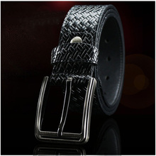 Classic pin buckle mens business belt first layer leather simple quality luxury high metal