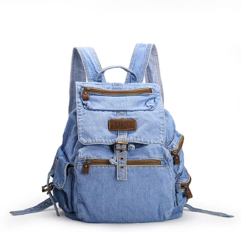 Vintage Casual Preppy Style Simple Denim Backpack School Bags Jeans Women Daypacks CrossBody bag bolsa feminina
