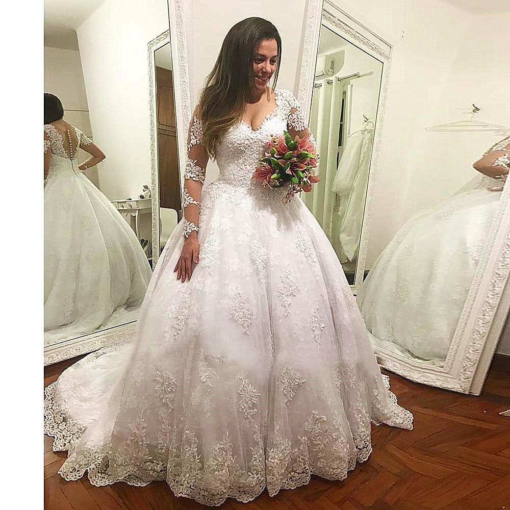 edba9656a683a ABD $123.75 Vestido De Casamento Uzun Kollu düğün elbisesi Lu... ABD  $137.82 Gerçek Fotoğraf Topu cüppe şeklinde gelinlik 2019 ...