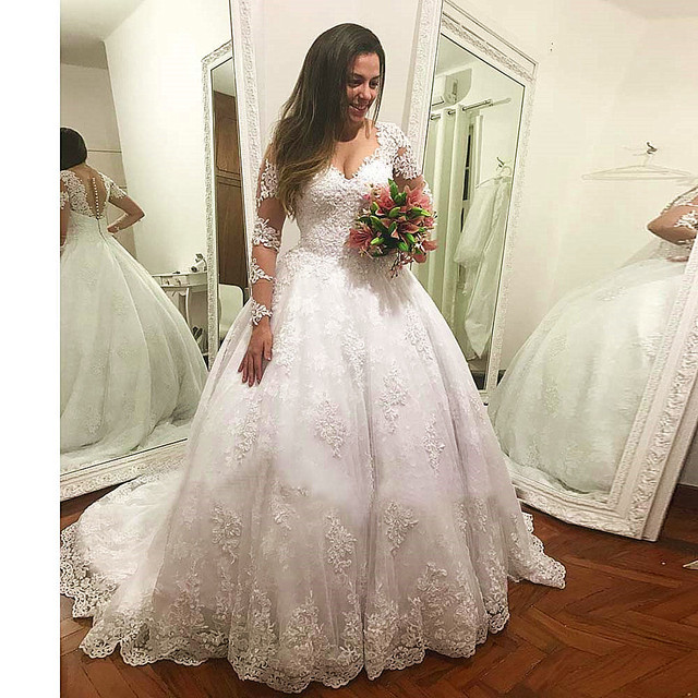 Vestido De Casamento Long Sleeves Wedding Dress Luxury Ball Gown Bridal Gowns Custom Made Lace Appliques Wedding Dresses 2019