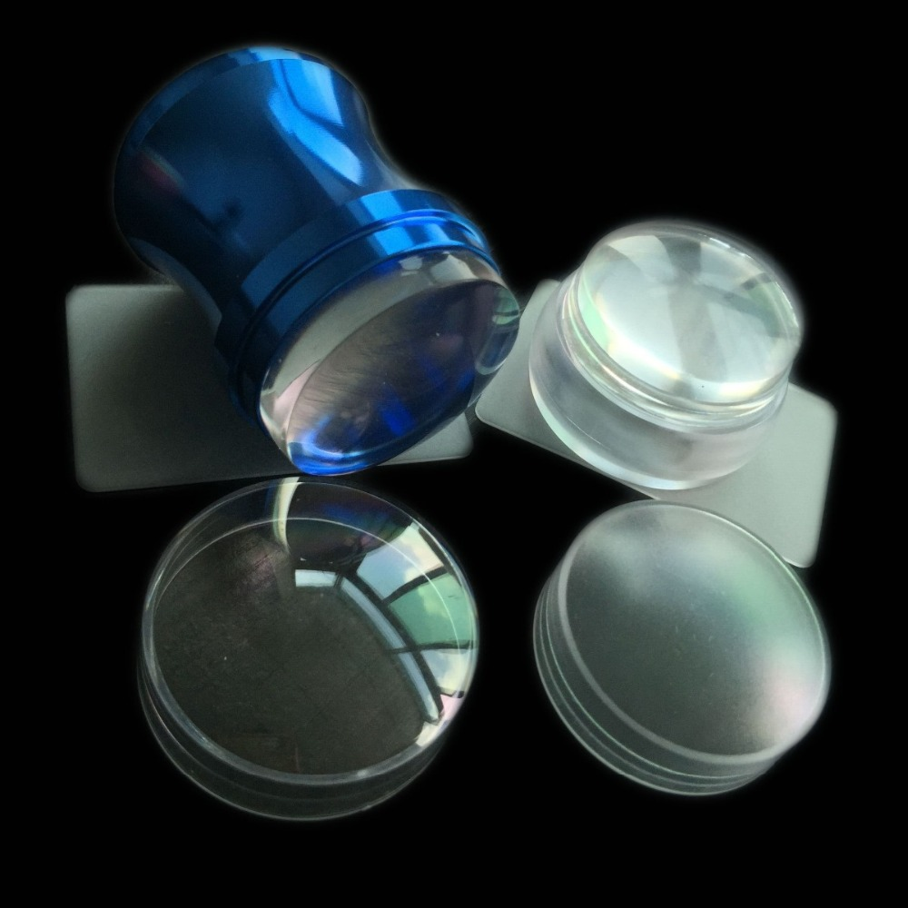 2sets Diy Blue Metal Handle Nail Art Stamper Scraper And Bottle Shape Matte Nail Art Stamp Clear Jelly Silicone Head With Cap Nail Art Templates