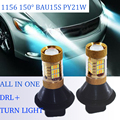 2*Dual Color 54SMD 1156 BAU15S PY21W 150degree LED Bulbs Canbus Error Free Front  DRL Daytime Running Lights&Turn Signal light