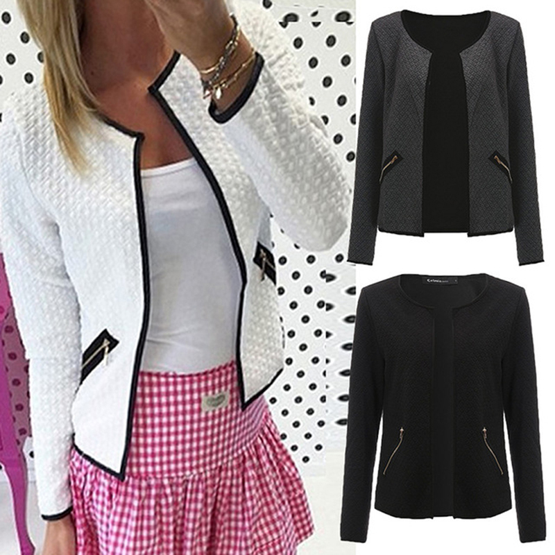 Spring Jacket Women Fashion Solid Color Pocket Zipper Casual Coat Puls Size S-4XL Tartan Cardigan Slim Fit Outerwear Autumn Coat