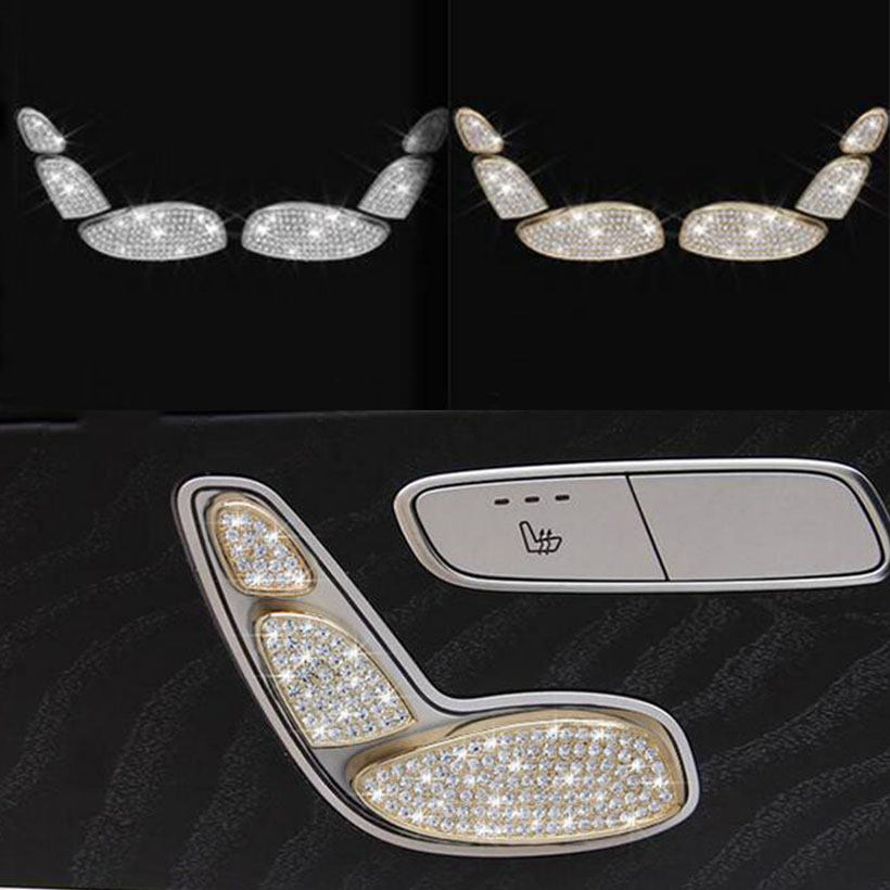 Silver/Gold Seat Button Cover Trim For Mercedes-Benz E Class W213 2017 Car Styling car seat adjustment button decoration frame trim sticker for mercedes benz e class glk cls gl gle e260l glk300 ml400 car styling