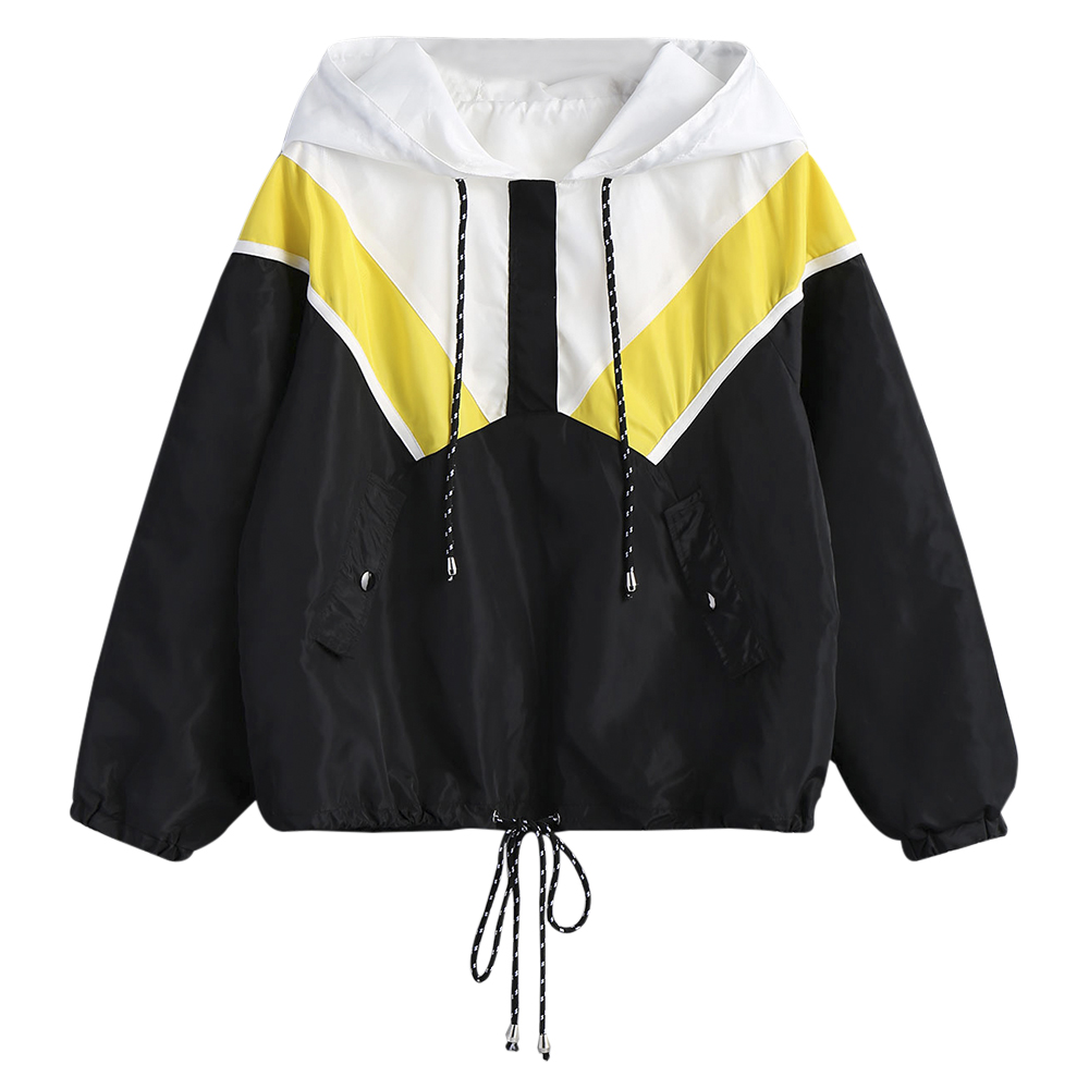 Nice Women Spring Coats   Jackets   Contrast Half Zip Hooded Windbreaker   Jackets   Outwear College Style Casual Women   Basic     Jackets