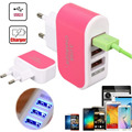 1Pc Hot Sale 3.1A 3 in 1 Port USB EU Plug Home Travel Wall Charger AC Power Adapter With Cable for Phone ablet a15