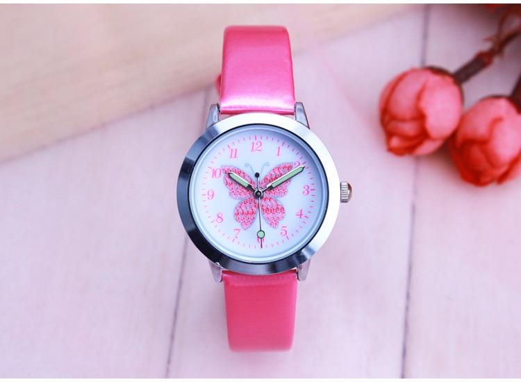 Fashion Brand Children's Watches Kids Quartz Watch Student Girls Quartz-watch Cute Colorful Butterfly Dial Waterproof Watch