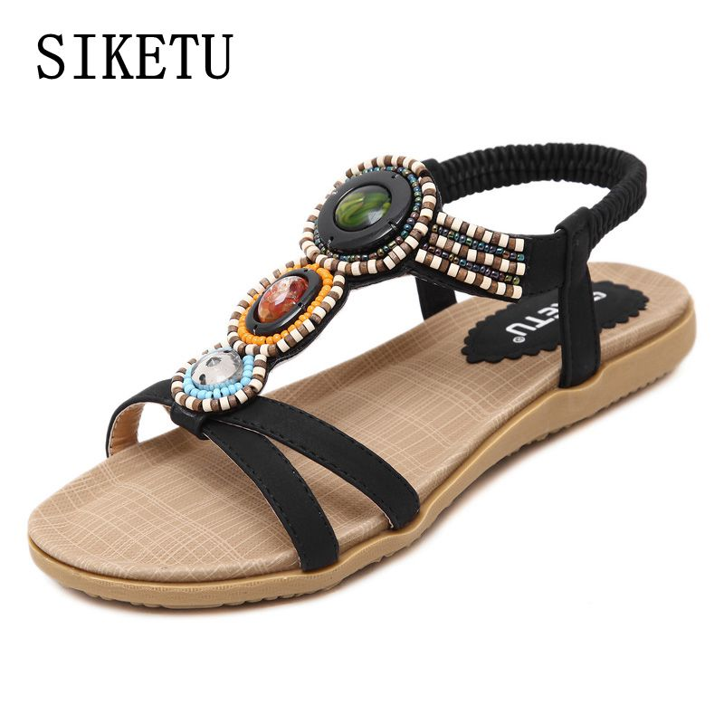 SIKETU 2017 summer new woman sandals Bohemia beaded soft bottom leisure large size women shoes fashion flat sandals 39 40 41 42 new women sandals low heel wedges summer casual single shoes woman sandal fashion soft sandals free shipping