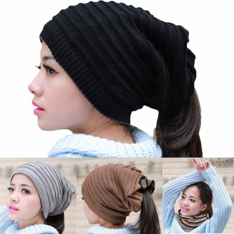 ae01cf506a259 2019 Fashion New Skullies Beanies Warm Caps Female Knitted Stylish Hat  Ponytail Beanie Winter Hats For Women Crochet Knit Cap-in Skullies   Beanies  from ...
