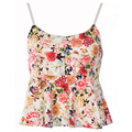 2015 New Top Summer Floral Print Ruffles Holiday Crop Top Women's Tank Vest with lining