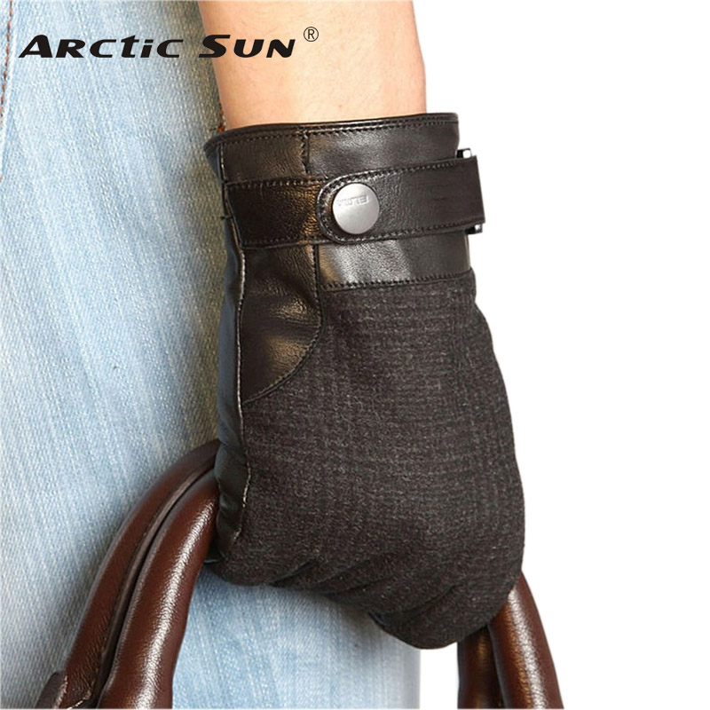 Business Men Genuine Leather Gloves Fashion Black Hand Back Wool Cloth Goatskin Glove Winter Plus Knitted