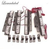 Lamadaled DC12V 4x6led red blue emergency vehicle police car grille flash strobe lights