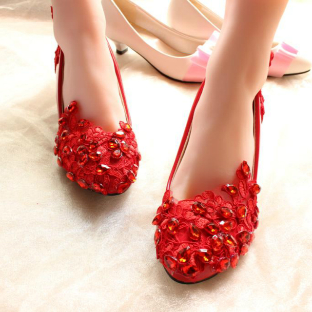 22fbc15e6e6 Spring Flat Pointed Toe Red Wedding Shoes Crystal Lace Embroidered Bridal  Shoes Shallow Mouth Unique Comfortable Low-Heeled